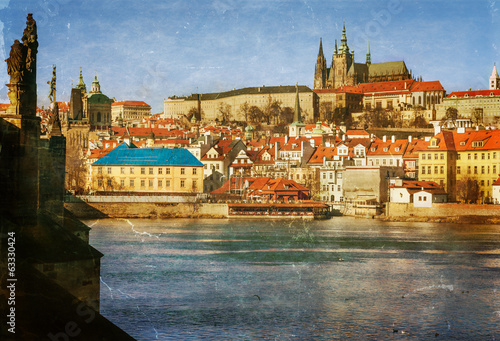 Prague, Charles Bridge, Czech Republic, textured old paper