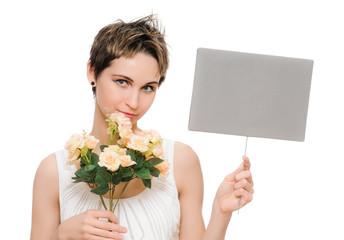woman flowers tablet
