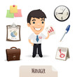 Male Manager Icons Set