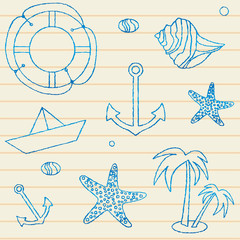 Summer themed seamless pattern on lined background