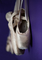 Worn out ballet pointe shoes