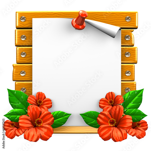 White Paper On Wooden Board With Red Hibiscuses