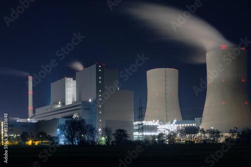 canvas print picture Kraftwerk in der Nacht