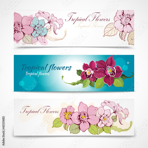 Tropical flower banners