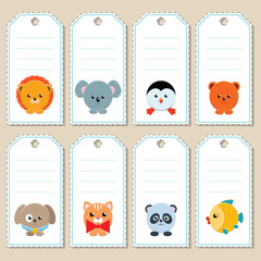 Gift tags with cute cartoon animals