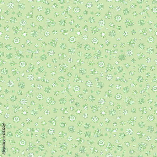 Seamless green doodle background with flowers and butterflies