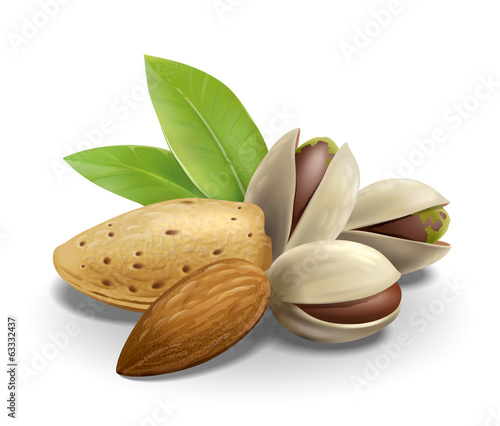 Almonds and Pistachios composition
