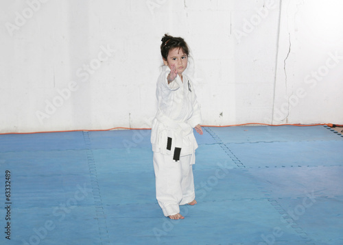 Little girl practice karate