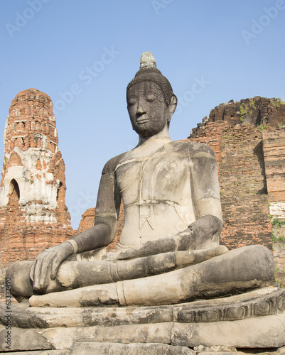 Sitting Buddha. The ancient statue at Wat Mahathat,  Ayutthaya