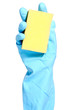 Hand in blue glove with sponge