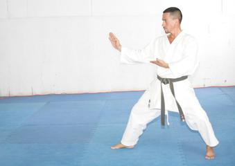 Black belt Man in kimono during training karate kata exercises