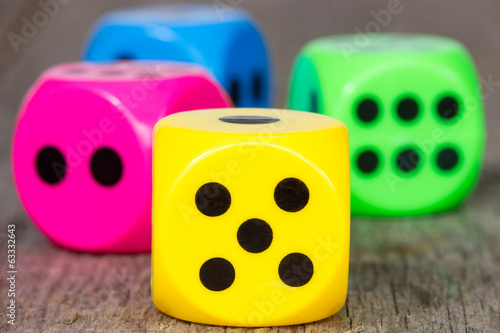 Close-up colorful dice