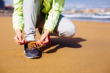 Woman running challenge concept