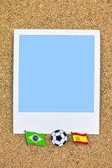 ポラロイド サッカー 国旗のピン ブラジル スペイン