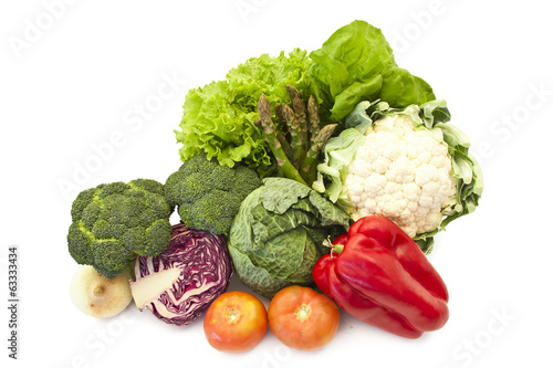 group of fresh vegetables isolated on white background