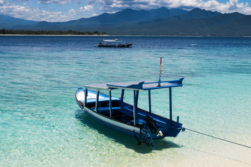Boats moored at Gili Meno, Lombok, Indonesia, Asia