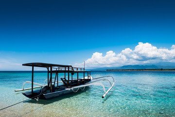 Boats moored at Gili Meno, of Lombok, Indonesia, Asia