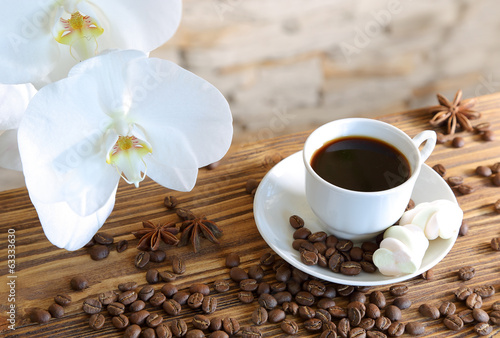 Obraz na Szkle Black coffee and marshmallow