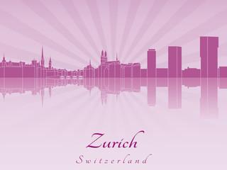 Zurich skyline in purple radiant orchid