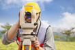 Surveyor engineer making measure in outdoor