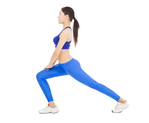 young sporty woman doing warm exercise