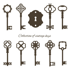 Antique keys and keyhole isolated on white.