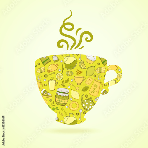 Mug with tea pattern isolated  background