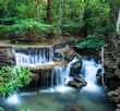 Huay Mae Kamin Waterfall in Tropical green forest, Kanchanaburi,