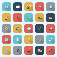 Trendy simple communication icons set in flat design with long s
