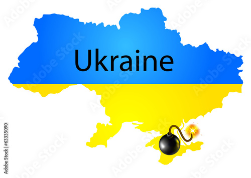 Map of Ukraine in National flag colors with bomb
