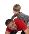 spoiled child on his father's back, parenting can be difficult