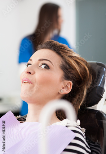Scared patient at dentist