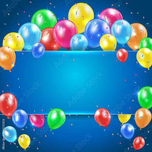 Balloons on blue background with banner