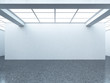 Bright empty gallery interior with white wall - 63336065