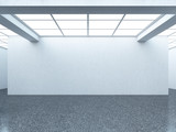 Bright empty gallery interior with white wall