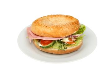 Ham salad bagel