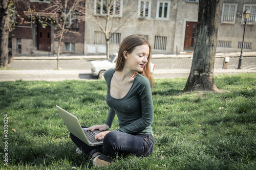 with her laptop