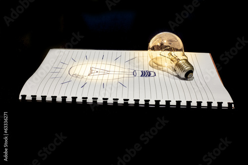 concept of idea: a drawn and a real light bulb