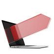 laptop with red arrow