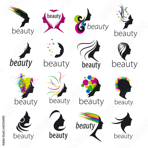 collection of vector logos beautiful female face