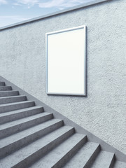 Blank billboard on the  wall with steps