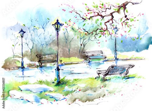 Fototapety, obrazy : Spring in the city