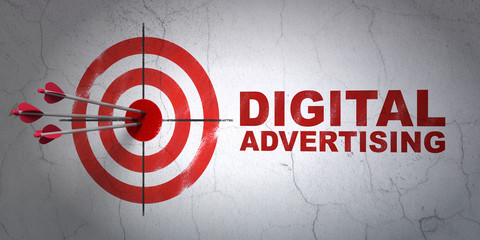 Marketing concept: target and Digital Advertising on wall