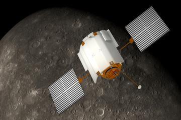 "Spacecraft ""Messenger"" Orbiting Mercury"