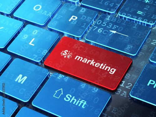 Advertising concept: Finance Symbol and Marketing on computer