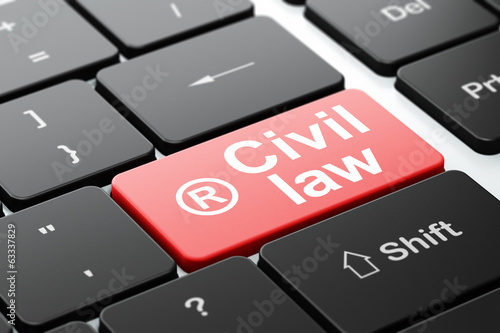 Law concept: Registered and Civil Law on computer keyboard