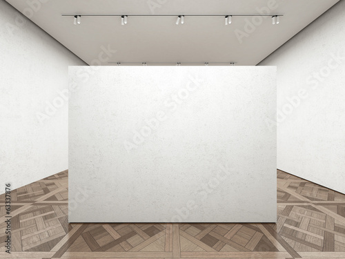 Empty art gallery with white wall