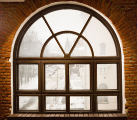 Vintage window and brick wall