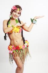 girl Hawaiian inviting and smiling