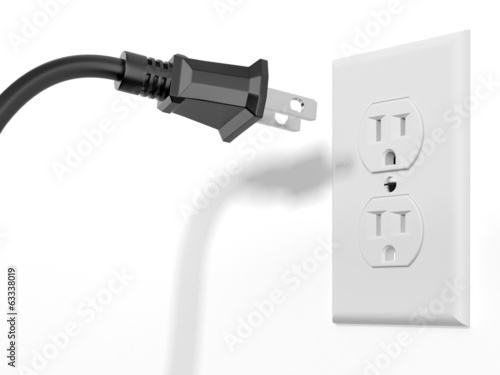 black plug and white socket